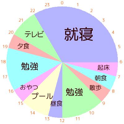 1日のスケジュールを円グラフで作成