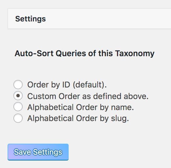 Custom Taxonomy Order画面