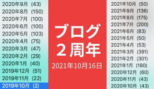 ゆうやの雑記ブログ2周年記念日【2021年10月16日の日記】